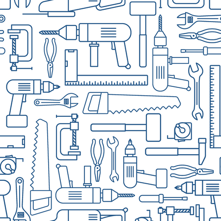 Hardware tool set linear seamless pattern. Vector carpenter or locksmith working tools thin line wallpaper