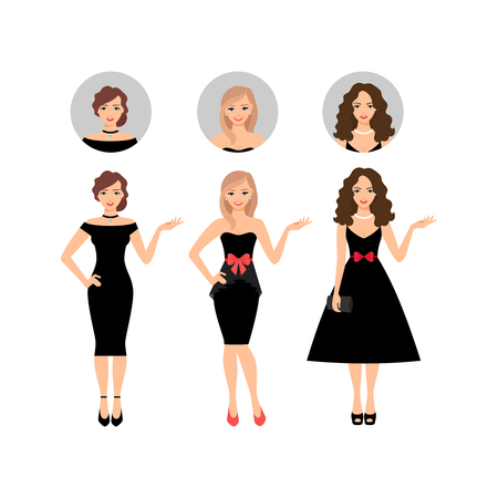 Beauty women vector illustration with face avatar icons vector set