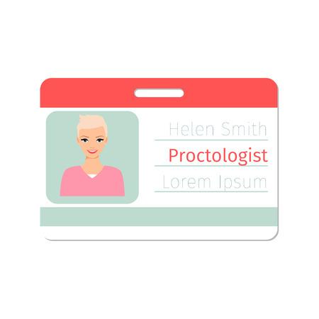Proctologist medical specialist badge template for game design or medicine industry. Vector ilustration