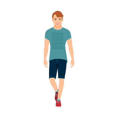 Guy in summer clothes isolated vector illustration on white background