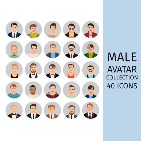 Handsome male avatar collection icons set. Vector illustration