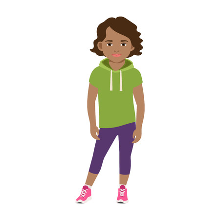 Black girl in a green hoodie isolated vector illustration on white background