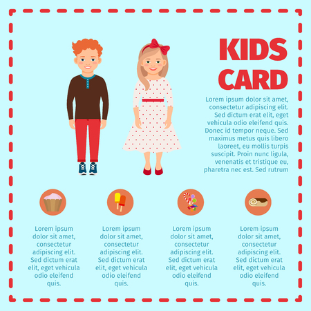 Blue kids card infographic with red hair boy and girl. Vector illustration