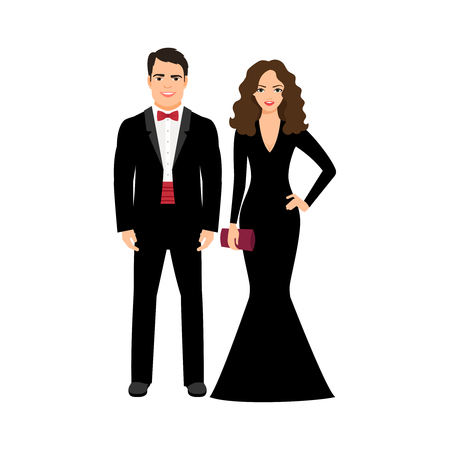 hollywood star: Young elegant handsome fashionable couple isolated on white background. Vector illustration