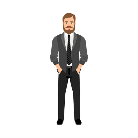 arms folded: A bearded hipster in gray tones isolated vector illustration on white background