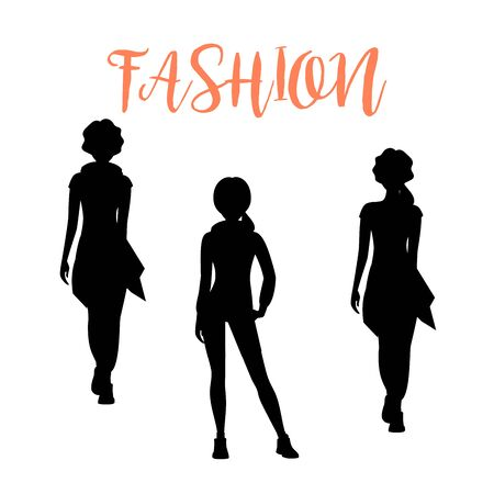 Fashion woman silhouette in different poses isolated on white background in loose clothes. Vector illustration