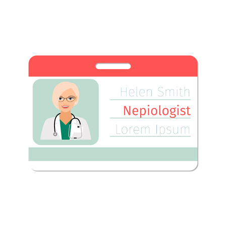 stetoscope: Nepiologist medical specialist badge template for game design or medicine industry. Vector illustration Illustration