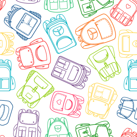 School pattern with colorful outline backpacks on white background. Vector illustration