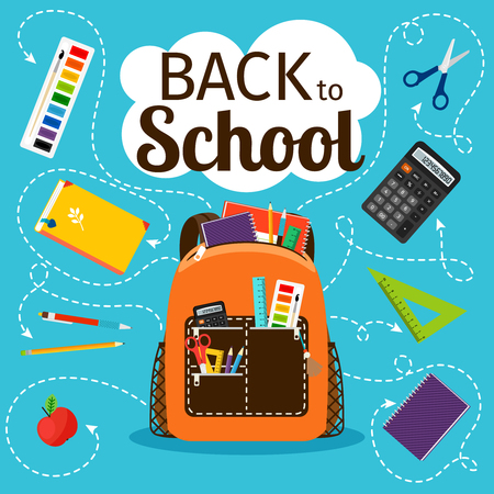 Back to school poster. Kids school backpack with education equipment vector illustration Stock Illustratie