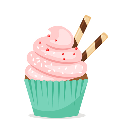 Chocolate muffin with pink frosting and thin wafer tubes. Sweet cupcake vector icon on white background Illustration