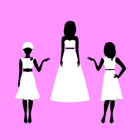 Fashion woman model silhouettes set in various poses in summer dresses. Vector illustration