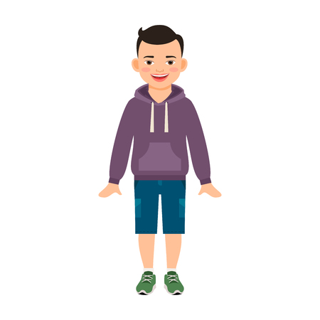 Boy in hoody isolated vector illustration on white background