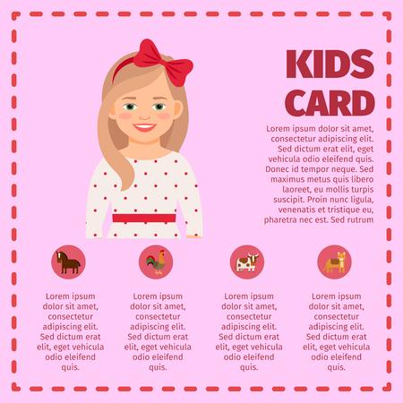 子供は、インフォ グラフィックのかわいい女の子と動物おもちゃアイコンをカードします。ベクトル図