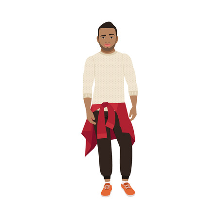 Black guy with a knitted sweater on his hips isolated vector illustration on white background