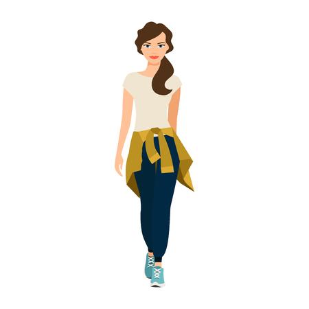 Meisje met een gebreide sweater op haar riem geïsoleerde vectorillustratie op witte achtergrond Stockfoto - 80283603