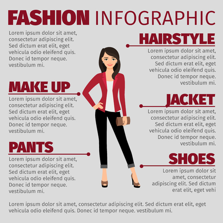suit skirt: Fashion infographic with lady in red jacket and brown wallet. Vector illustration Illustration