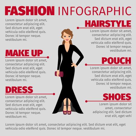 Fashion infographic with woman in a evening dress. Vetor illustration Illustration