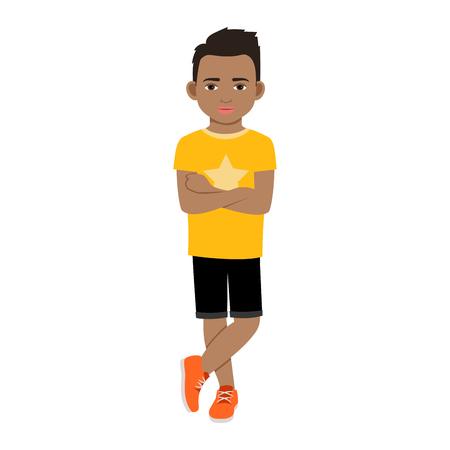 白い背景の上の黄色 t シャツ分離ベクトル図には黒の少年