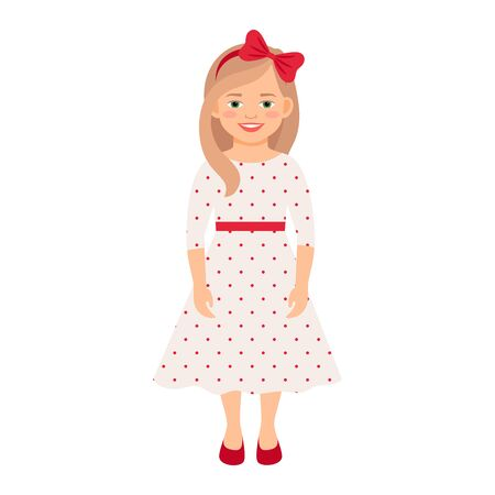Girl in a summer dress isolated vector illustration on white background