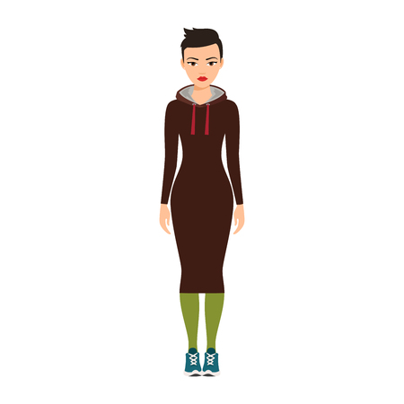 Short haired girl in a long brown dress isolated vector illustration on white background