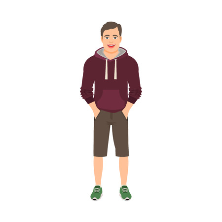 Young man in a hoodies isolated vector illustration on white background