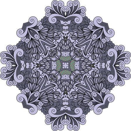 Violet doodle decorative element with outline swirls and leaves. Vector illustration