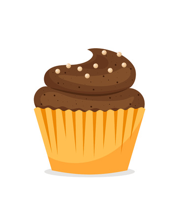 cupcakes isolated: Chocolate cupcake icon on white background. Vector tasty muffin illustration