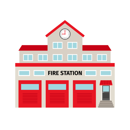 Fire station flat colorful building icon, isolated on white background. vector illustration