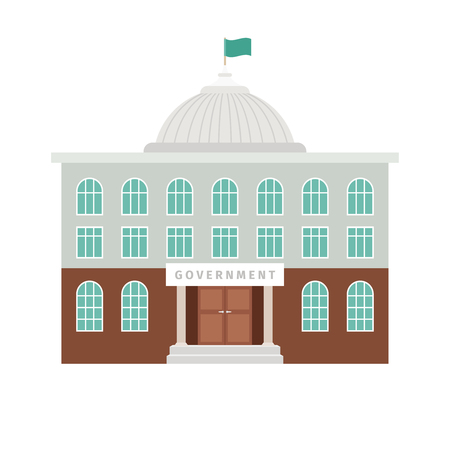 Government building with white dome and flag vector flat icon isolated on white background