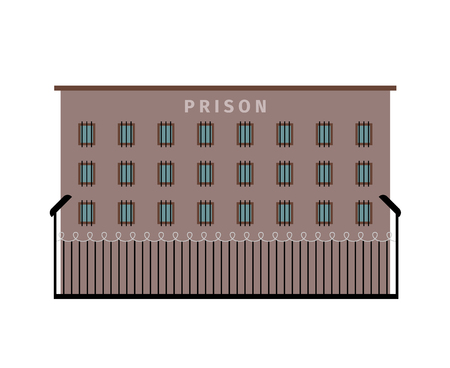 mesh: Prison building dark color flat icon on white background. Vector illustration Illustration