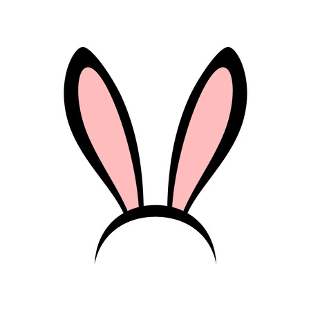 Rabbit ears head accessories vector icon. Pink and black cute bunny ears