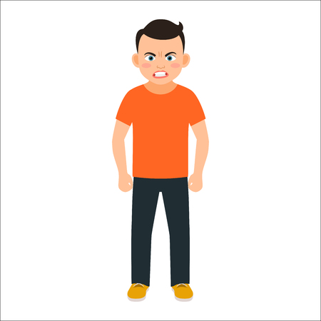 Angry boy in spring clothes isolated vector illustration on white background Illustration