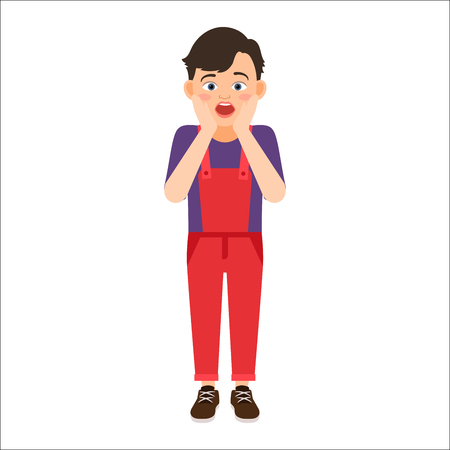 the appearance: Scared boy in a denim overalls isolated vector illustration on white background