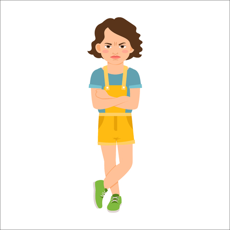 causal: Angry girl in blue shirt isolated vector illustration on white background Illustration
