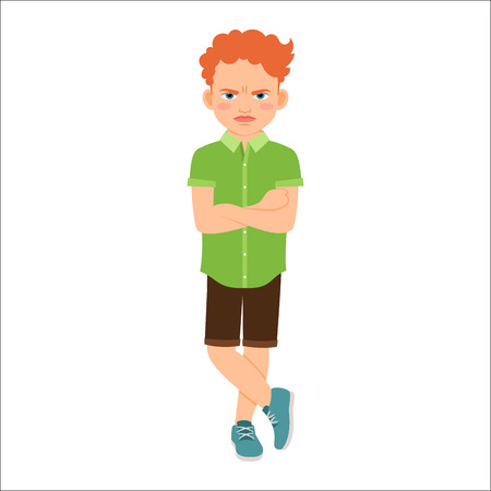 Angry redhead boy in a green shirt isolated vector illustration on white background