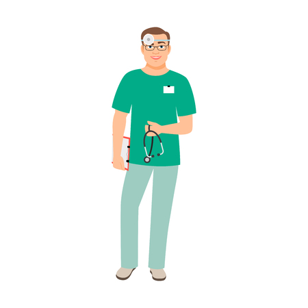 Otolaryngologist medical specialist isolated vector illustration on white background