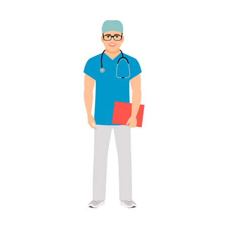 Pediatrician medical specialist isolated vector illustration on white background Illustration