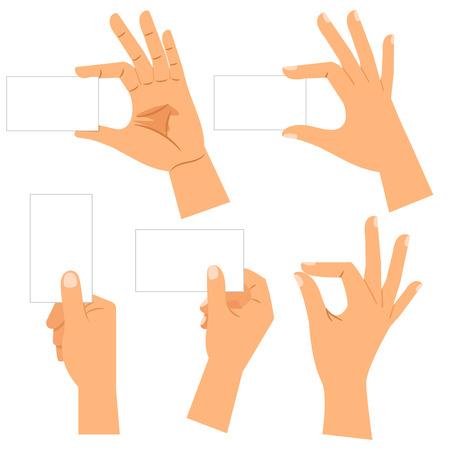 mains avec des cartes de visite en papier isolé sur fond blanc. main mâle tenant carte vierge carte isolé sur fond blanc
