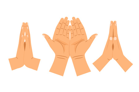 Religion praying hands isolated on white background. Folded clasped hands vector illustration