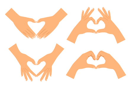Two hands making heart shape isolated on white background. Love hand sign vector illustration Vetores