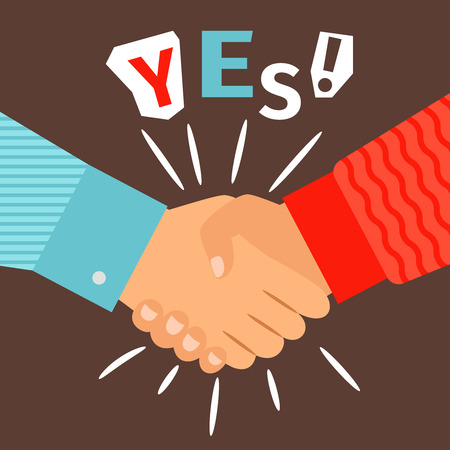 Handshake diverse casual hands meeting, welcome or success shaking sign vector illustration Illustration