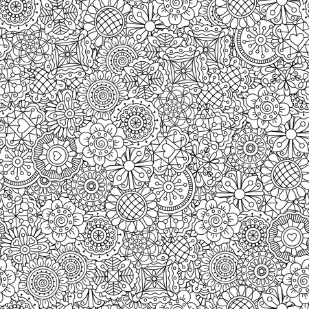 Different shape ornamental flowers pattern. Outline decorative black and white adult floral coloring background. Vector illustration