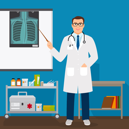 Medical professor checking lungs x-ray film vector illustration