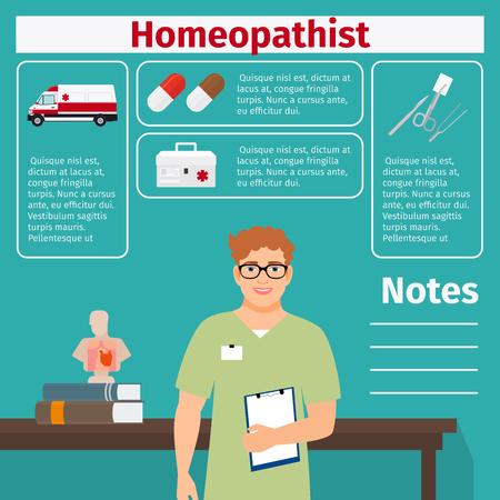 Icônes de matériel médical et homéopathique avec des éléments d'infographie pour l'industrie médicale et pharmaceutique. Illustration vectorielle