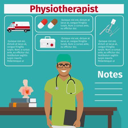 Ikony fizykoterapeuty i sprzętu medycznego z elementami infograficznymi dla przemysłu medycznego i farmaceutycznego. Ilustracji wektorowych