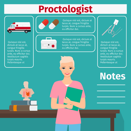 urgency: Proctologist and medical equipment icons with infographics elements for medical and pharmaceutical industry. Vector illustration Illustration