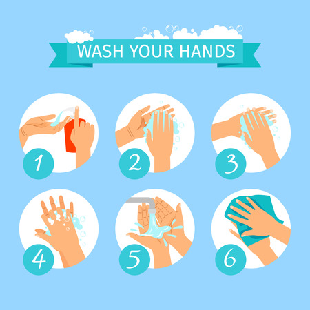 Wash yours hands restroom or medicine vector illustration. People hands washing hygiene infographic icons with soap foam Stok Fotoğraf - 81494039