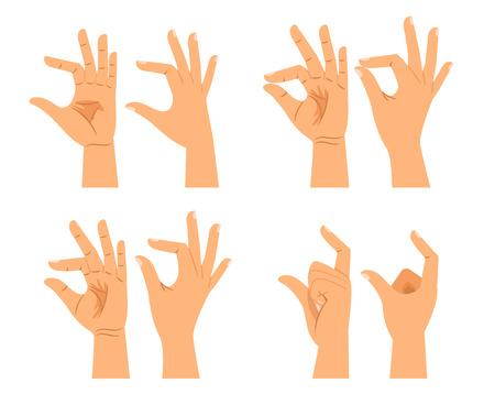 Signos del tamaño de la mano del vector o gestos del grueso de las manos aislados en el fondo blanco