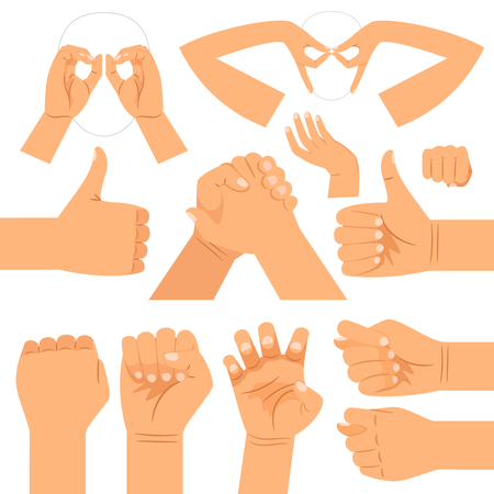 Funny hand glasses shape, handshake and thumbs up, fist and cats claws hands gestures isolated on white background Illustration