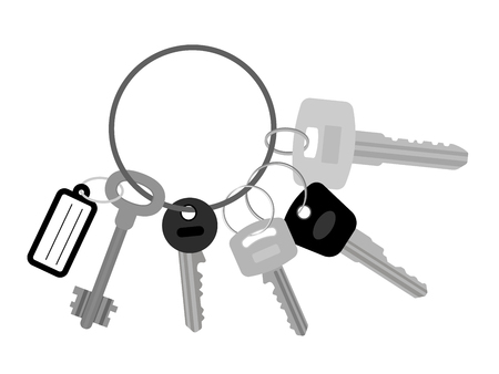 Bunch of keys flat vector illustration. Key set with keyring or keychain isolated on white background